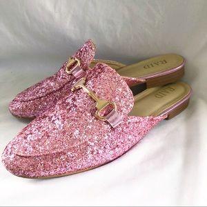 ASOS RAID pink glitter mules shoes size 6 slip on
